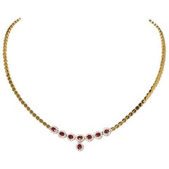 Necklace with 8 Rubies and Diamonds, 750 Gold