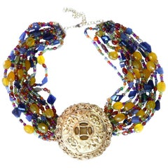 Necklace with Antique Cinese Gold Element Tanzanite Ruby Peridot Tourmaline