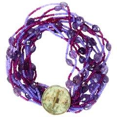 Necklace with Antiques Jade Amethyst Rubelite Lavender Jade 18 Karat Gold