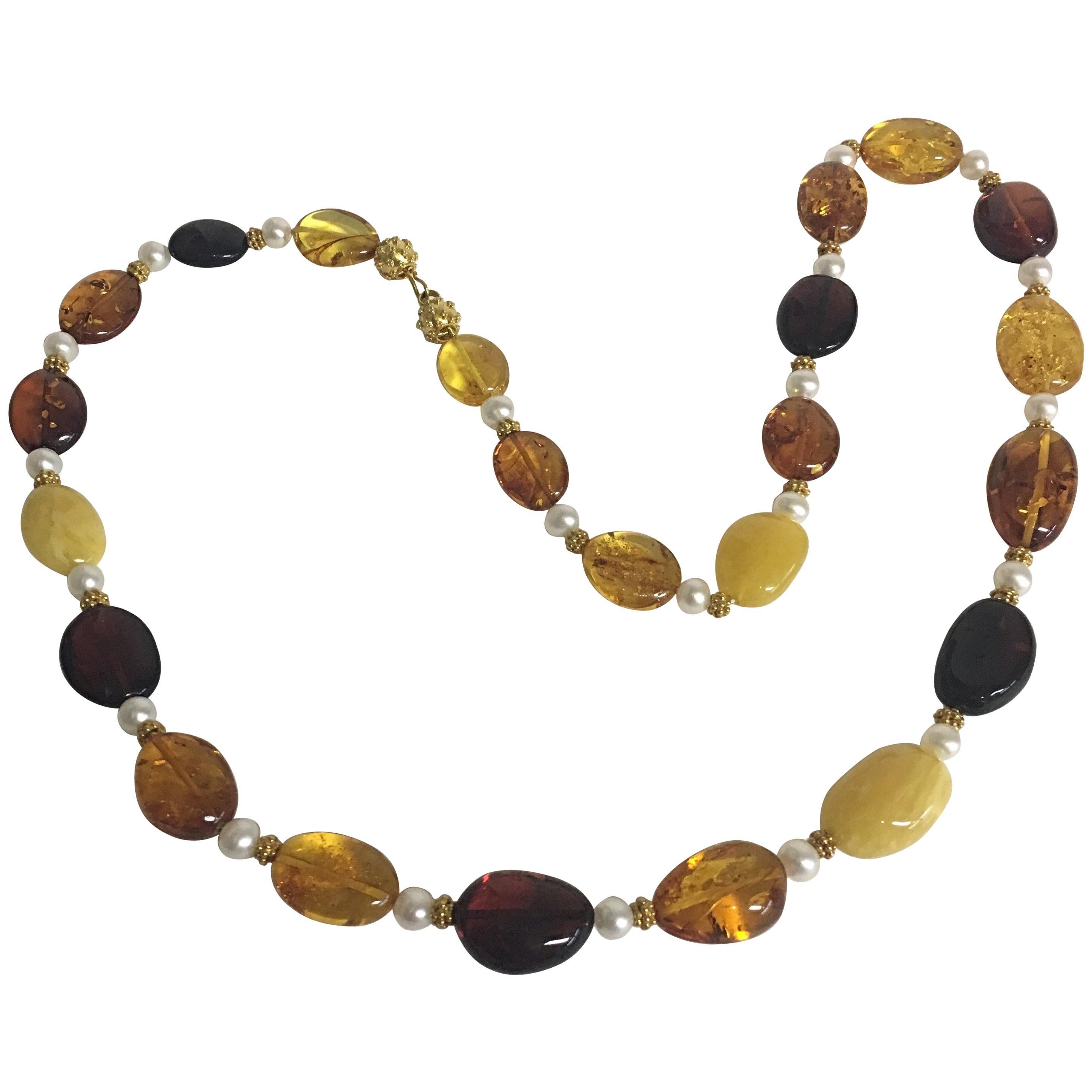 Necklace with Baltic Amber & 18 Karat Gold Beads & Freshwater Pearls