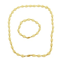 Necklace with Clusters of Bouton Shaped Cultered Pearls, with Matching Bracelet