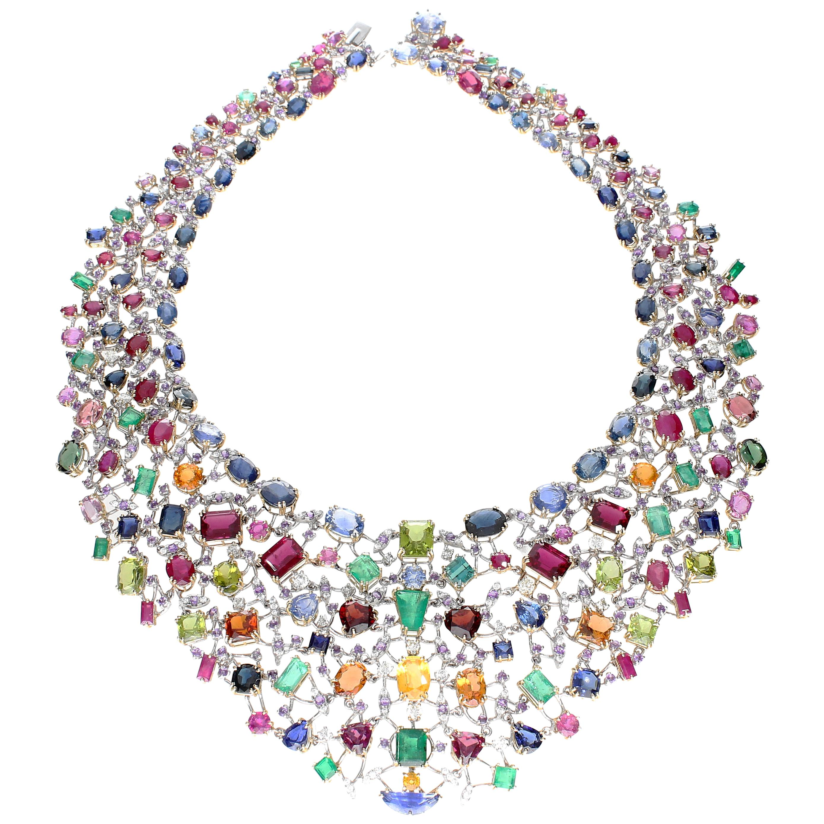 Necklace with Diamonds and Multicolor Natural Stones 18 kt Yellow Gold