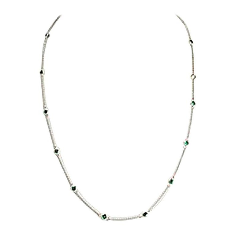 Necklace with Emeralds, 750 White Gold For Sale
