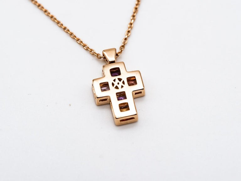 Modern Necklace with Pendentif Multicolore Cross Saphirs Diamonds Pink Gold For Sale