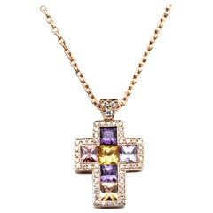 Necklace with Pendentif Multicolore Cross Saphirs Diamonds Pink Gold