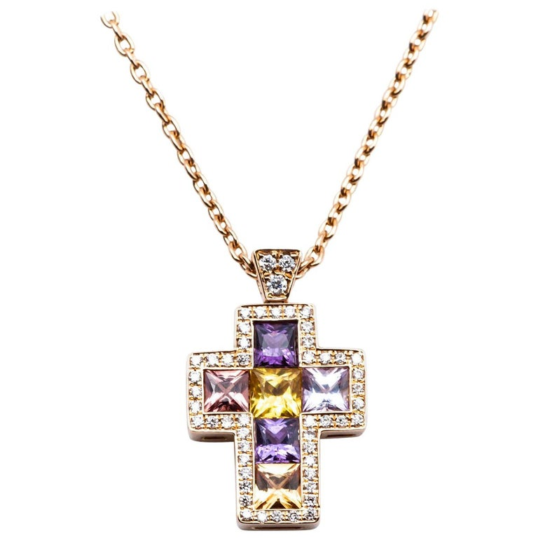 Necklace with Pendentif Multicolore Cross Saphirs Diamonds Pink Gold For Sale