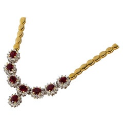Necklace with Rubies and Diamonds, 750 Yellow Gold