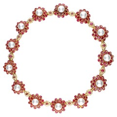Necklace with Rubies, Pearls and Diamonds in 18 Karat Yellow Gold