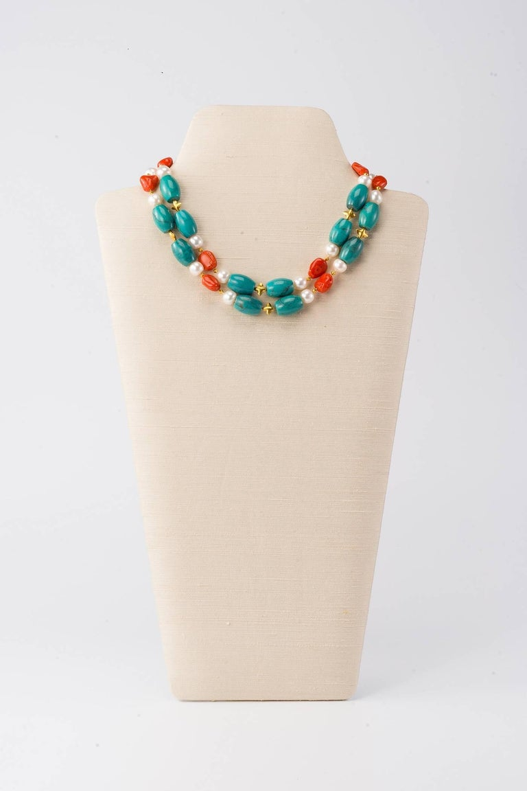 Contemporary Necklace with Turquoise, Coral Pebbles, Freshwater Pearls and 18 Karat Gold For Sale