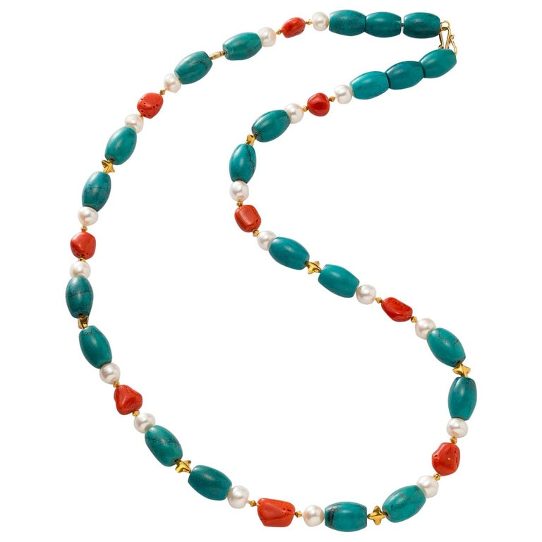Necklace with Turquoise, Coral Pebbles, Freshwater Pearls and 18 Karat Gold For Sale