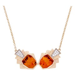 Necklace Yellow Gold Citrine 5.00 Carat Diamonds