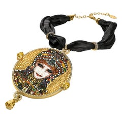 Necklace Yellow Gold Silver White & Brown Diamonds Quartz Decorated Micro Mosaic