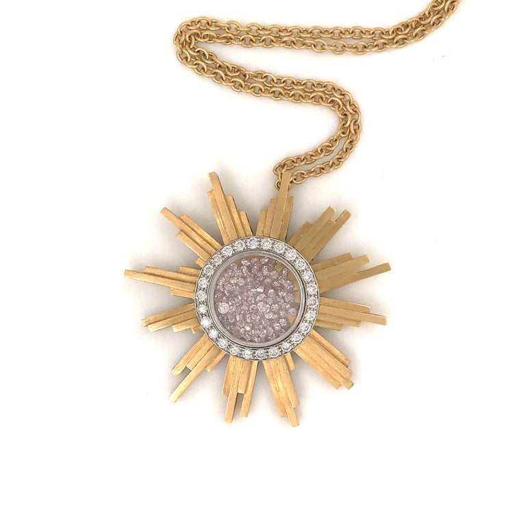 Necklace, Yellow Gold Sun 34 Grams, Diamonds White and Pink 2.27 Carat, Unique For Sale 4