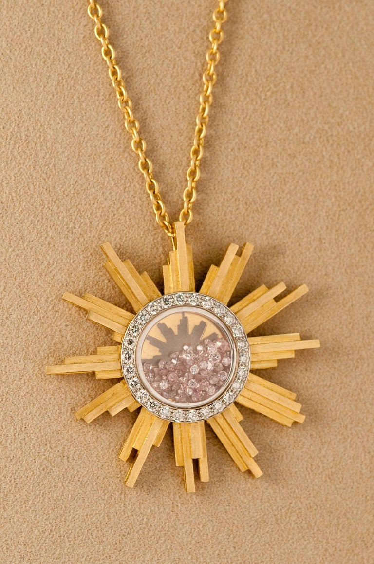 Women's or Men's Necklace, Yellow Gold Sun 34 Grams, Diamonds White and Pink 2.27 Carat, Unique For Sale