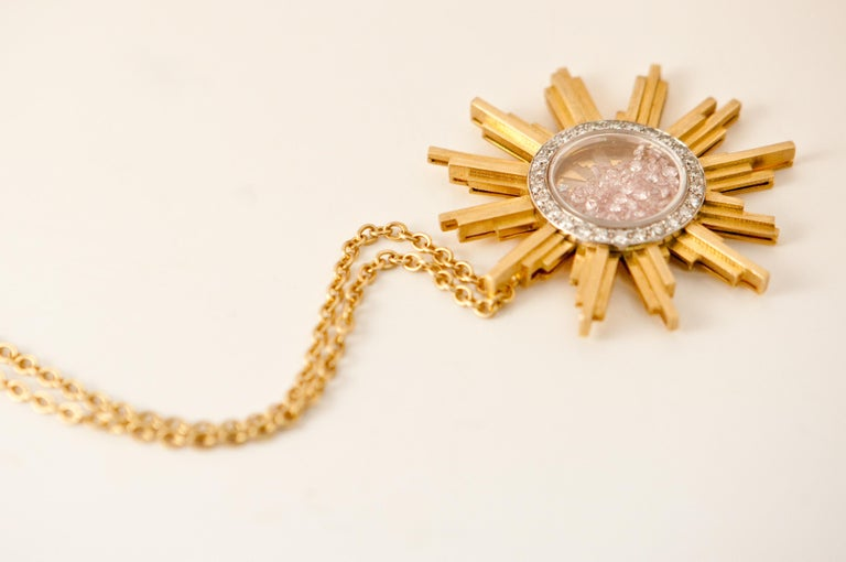 Necklace, Yellow Gold Sun 34 Grams, Diamonds White and Pink 2.27 Carat, Unique For Sale 1