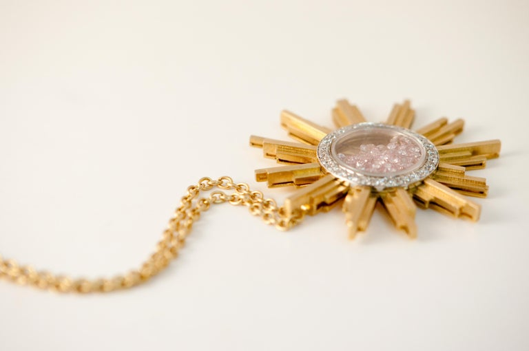 Necklace, Yellow Gold Sun 34 Grams, Diamonds White and Pink 2.27 Carat, Unique For Sale 2