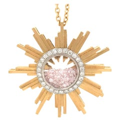 Necklace, Yellow Gold Sun 34 Grams, Diamonds White and Pink 2.27 Carat, Unique