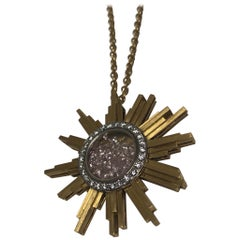 Necklace,Yellow Gold Sun 34 Grams ,Diamonds Withe and Pink 2.27 Carats, Unique