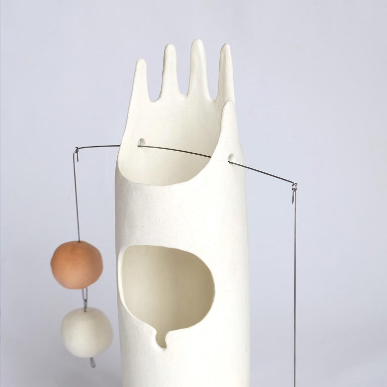 Fired Neco, Contemporary Sculptural Hand-Built Ceramic Table Lamp in Matte White For Sale