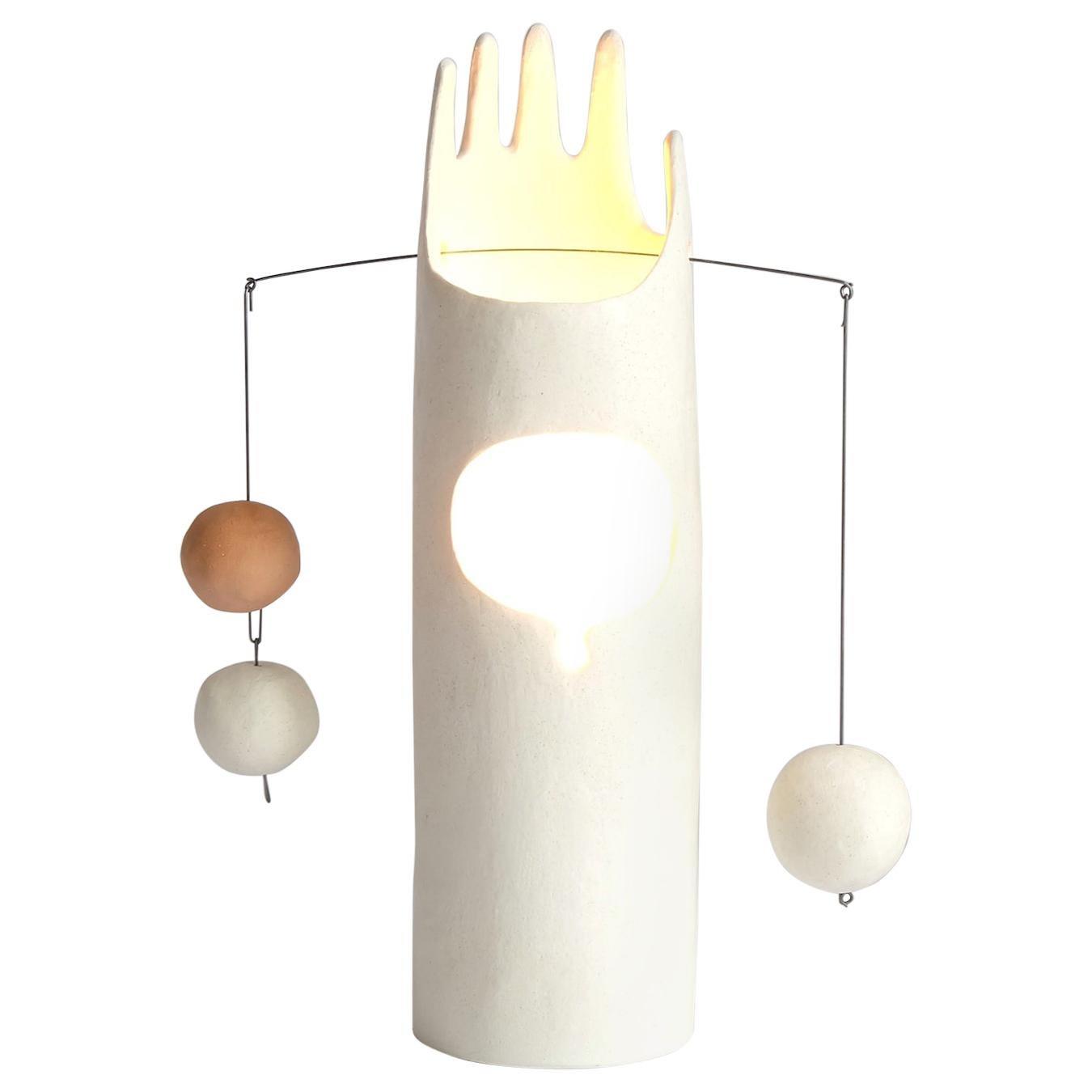 Neco, Contemporary Sculptural Hand-Built Ceramic Table Lamp in Matte White