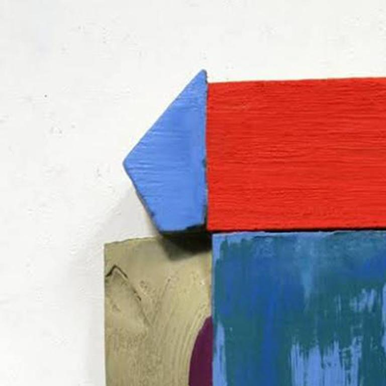 Wall Relief 3 - Oil Paint and Resin on Wood - Modern Abstract - Multicolored - Sculpture by Ned Evans