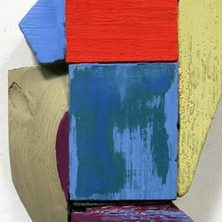Wall Relief 3 - Oil Paint and Resin on Wood - Modern Abstract - Multicolored - Abstract Geometric Sculpture by Ned Evans