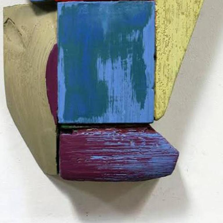 Wall Relief 3 - Oil Paint and Resin on Wood - Modern Abstract - Multicolored - Beige Abstract Sculpture by Ned Evans