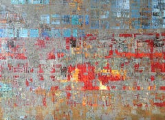 Always (Diptych), bold red and blue city graffiti-like abstract oil painting