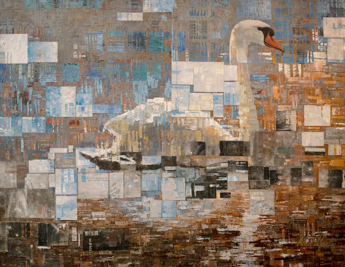 """Awakening,"" Abstract Swan Painting"