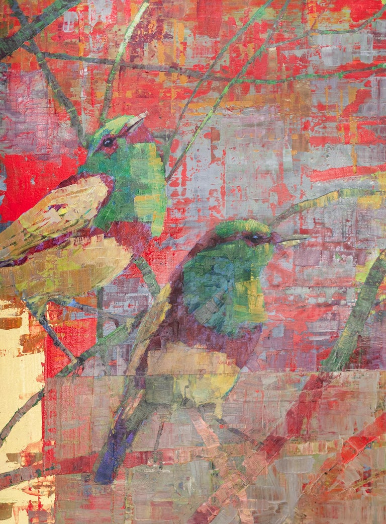 'Flirtation' Abstract Painting - Gold Animal Painting by Ned Martin