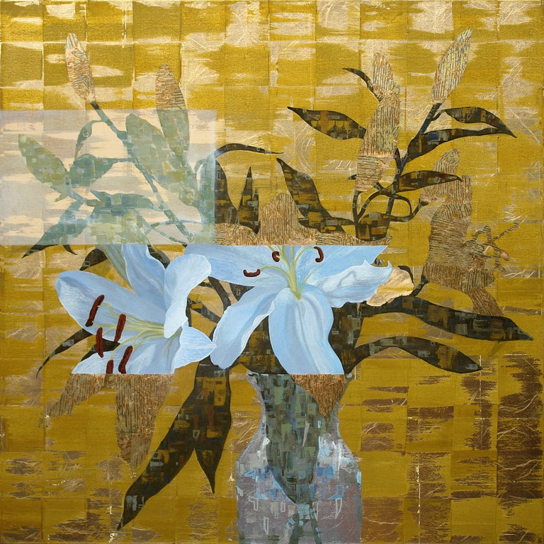 'Gilded Lily Square', Abstract Contemporary Floral Oil Painting