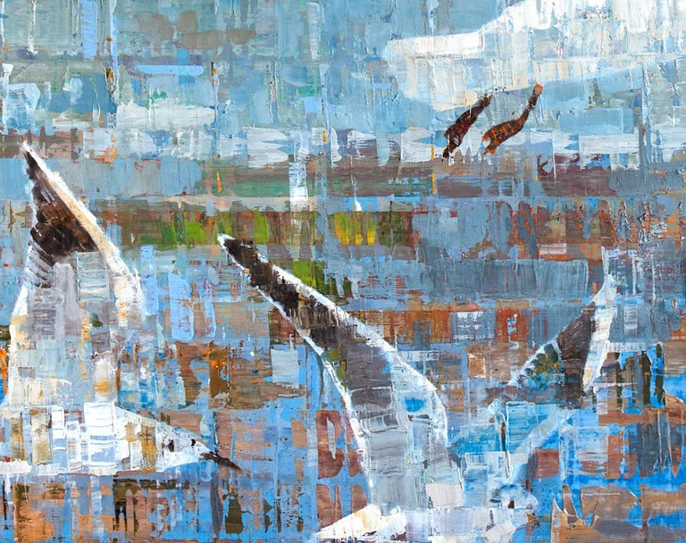 This abstract painting of flying birds in the sky is made with oil paint on aluminum panel. On the bottom half of the canvas, five white birds with dark feathers on the tips of their wings fly in a formation through a primarily blue sky that is
