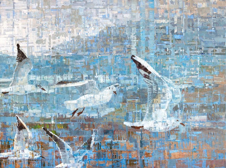 """Ned Martin Animal Painting - """"New Beginnings,"""" Abstracted Birds Painting"""