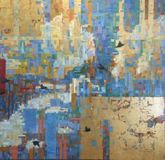 'Reoccurring Dream', Abstract Contemporary Skyscape Gold Metal Leaf Oil Painting