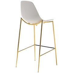 Needle Bar Stool with Gold Finish Legs