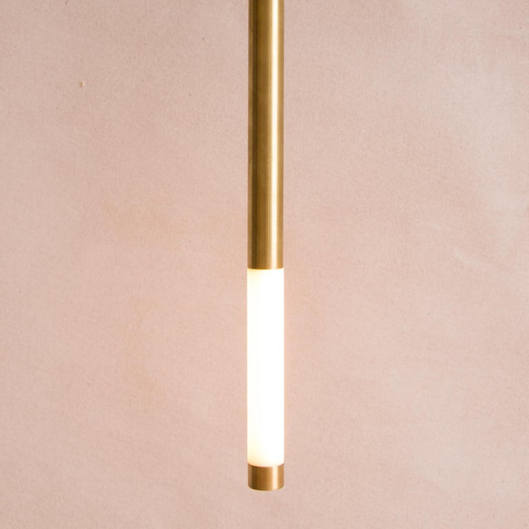 American Needle Pendant Light in Porcelain and Brass For Sale
