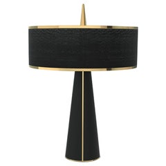 Needle Table Lamp in Brass and Wood