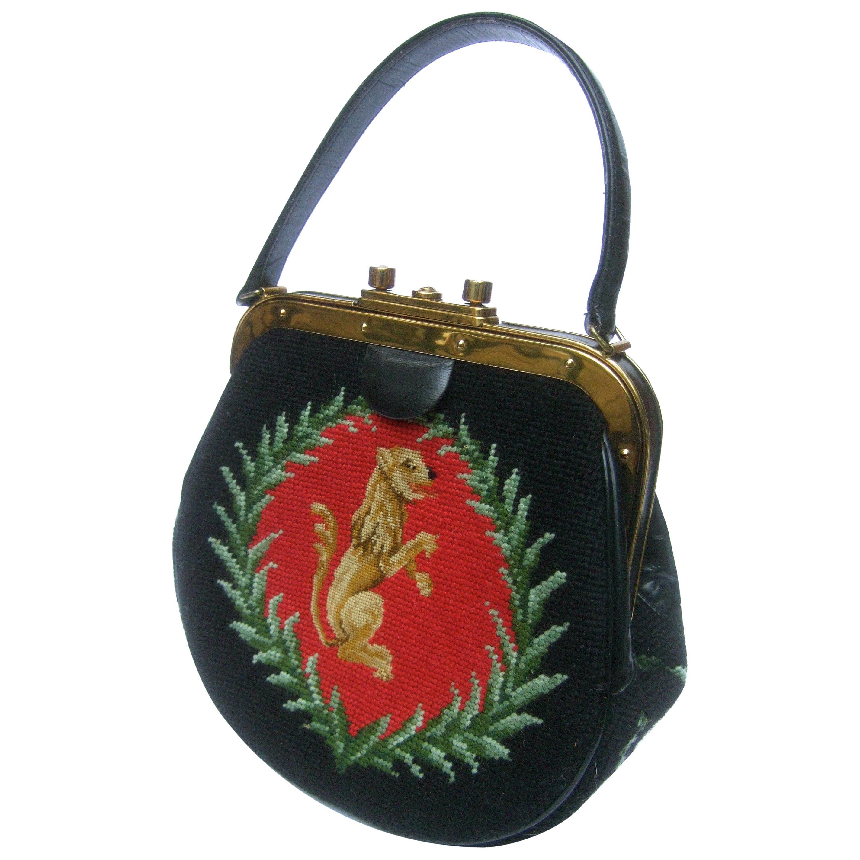 Needlepoint Artisan Griffin & Laurels Hand Stitched Handbag c 1970