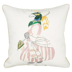 Needlepoint Cushion of a Duck in a Dress