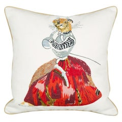 Needlepoint Cushion of a Lioness in a Dress