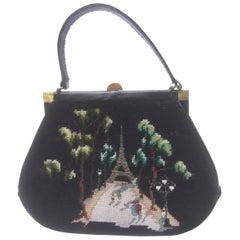 Needlepoint French Scene Artisan Handbag c 1960