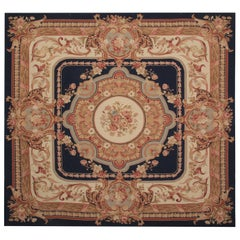 Needlepoint Handmade Carpet Rug French Aubusson Style Rugs, Square Rug Sale