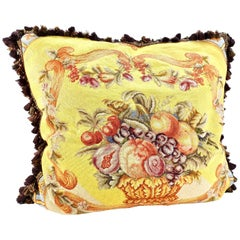 Needlepoint Pillow Fruit Bowl Design with Down, Victorian