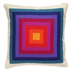 Needlepoint Pillow, Mid-Century Modern Verner Panton Style, Rainbow Squares