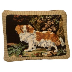Needlepoint Pillow with King Charles Spaniel Playing in the Woods