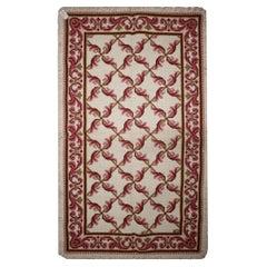 Needlepoint Rug Traditional Handwoven Oriental Carpet Pink Wool