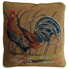 Needlepoint Tapestry Cushion or Pillow of Rooster or Cockerel, circa 1940