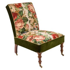 Needlepoint Upholstered Slipper Chair
