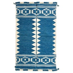 NEEL Handloom Indian Wool Rug in Natural Indigo Geometric Patterns