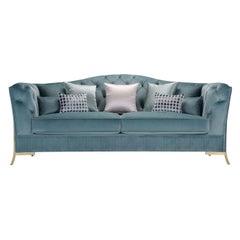 Nefele Peacock Blue 3-Seater Sofa